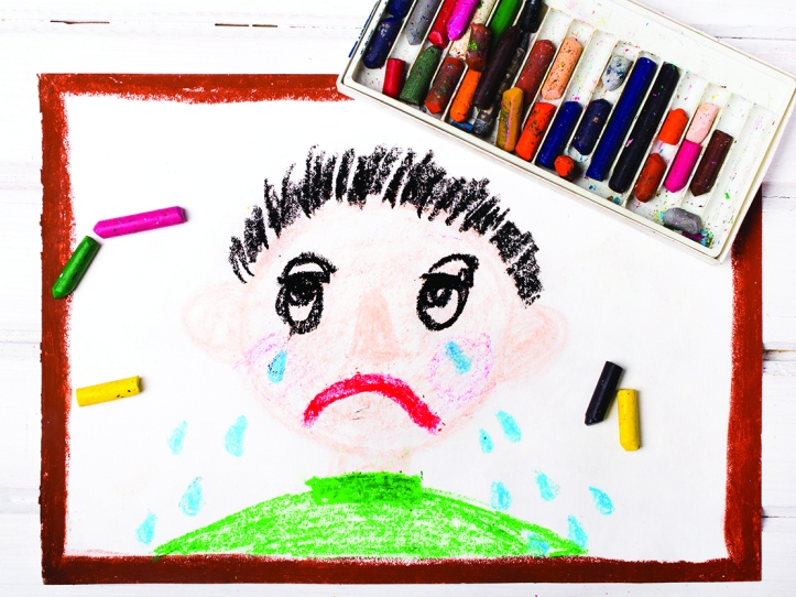 colorful drawing: crying boy