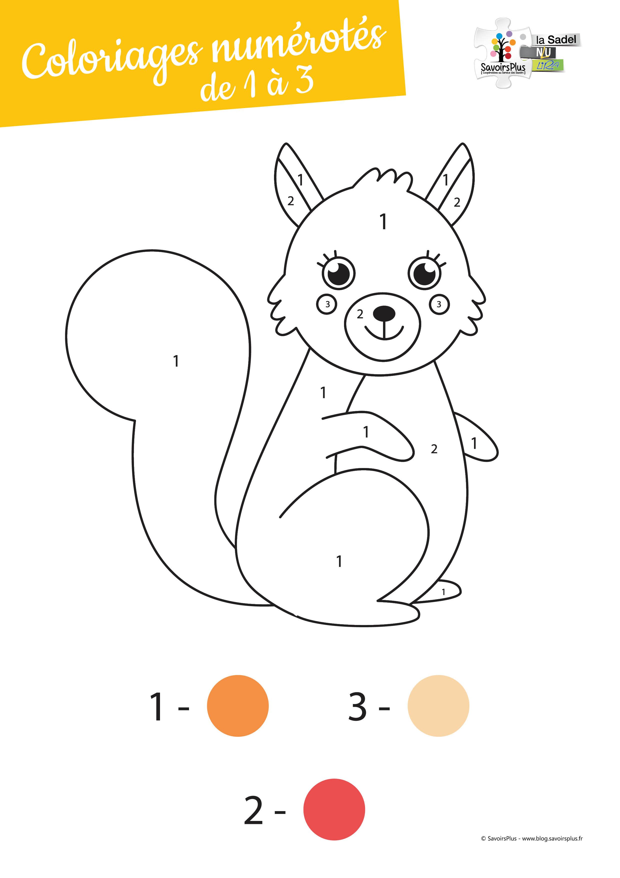 Téléchargement - Coloriages numérotés pour les tout-petits de 1 à 3 - Le blog SavoirsPlus
